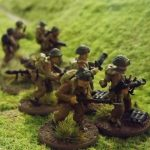 British Infantry waiting to advance into the town.